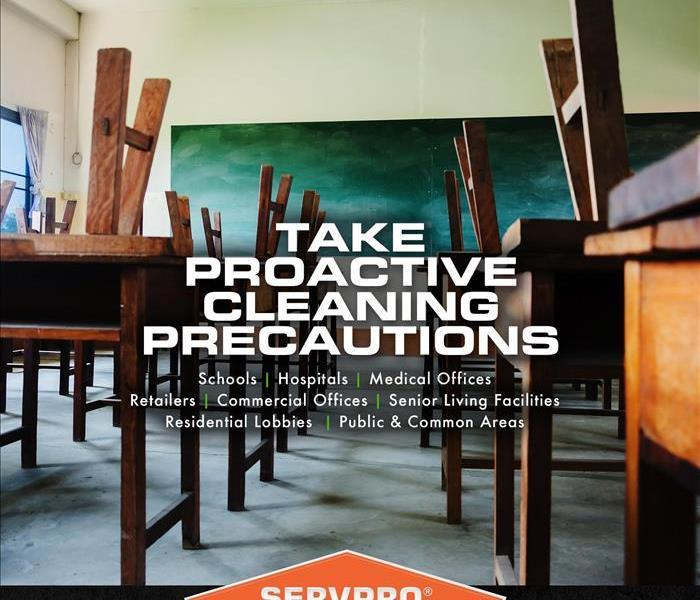 Clip art shows the interior of a classroom with a list of facilities SERVPRO can help clean.